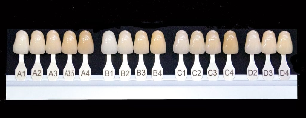 An assortment of fake teeth showing different teeth colors and shades