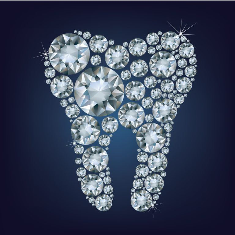 Tooth made up of diamonds